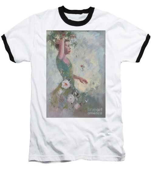 Baseball T-Shirt featuring the painting Flower Vender by Gertrude Palmer