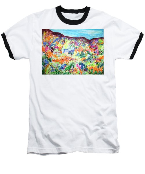 Baseball T-Shirt featuring the painting Flowering Hills by Esther Newman-Cohen