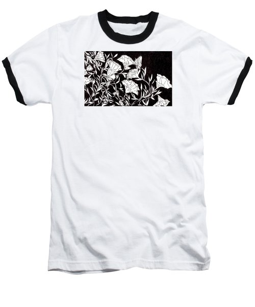 Baseball T-Shirt featuring the drawing Flowers by Lou Belcher