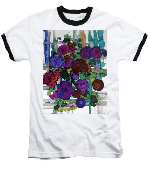 Flowers On Trellis Baseball T-Shirt by Alika Kumar