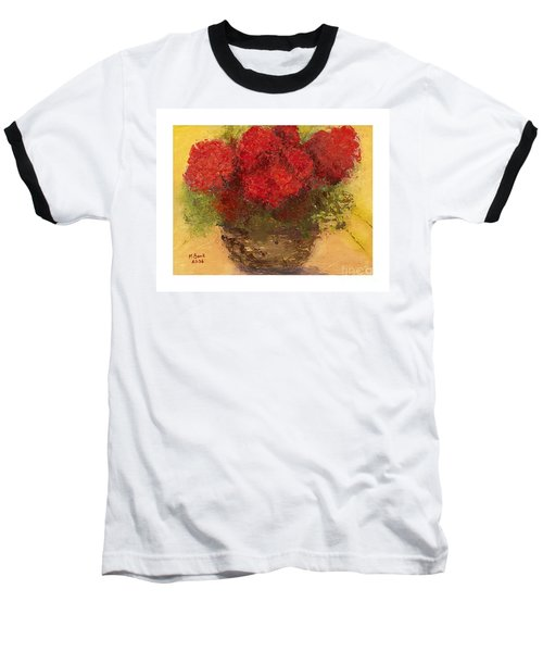 Baseball T-Shirt featuring the mixed media Flowers Red by Marlene Book