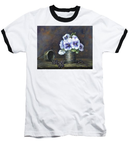 Baseball T-Shirt featuring the painting Flowers,pansies Still Life by Luczay