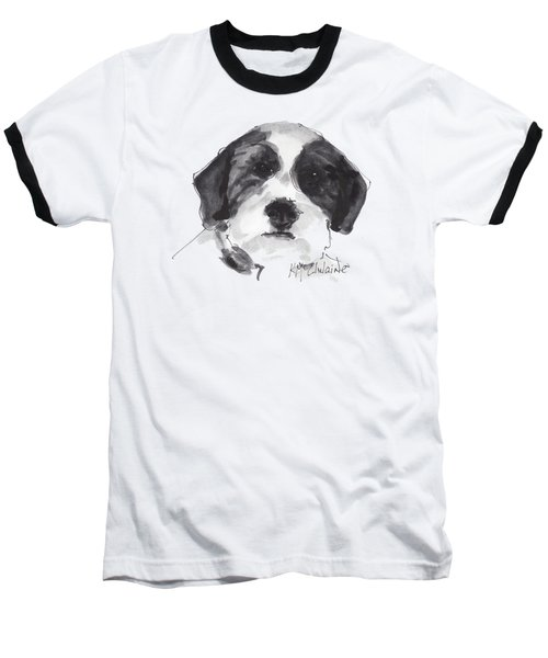 Fluffy Black And White Dog Watercolor Painting Baseball T-Shirt by Kathleen McElwaine