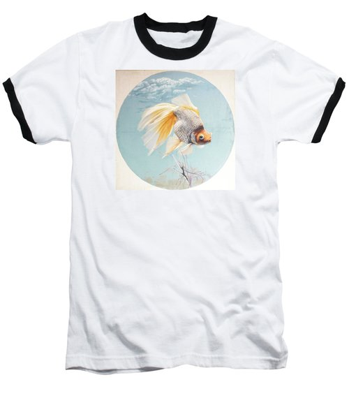Flying In The Clouds Of Goldfish Baseball T-Shirt
