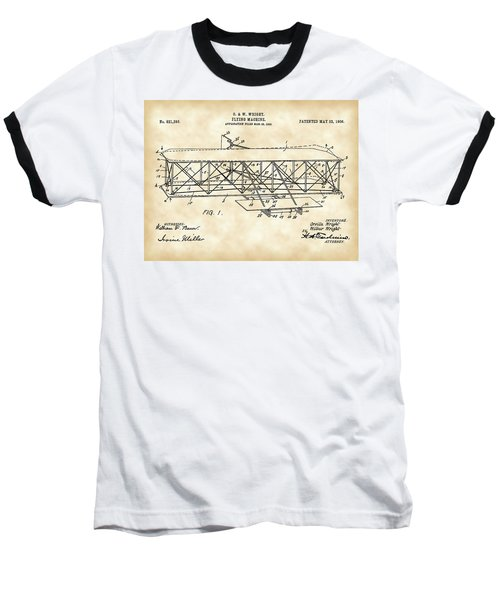 Flying Machine Patent 1903 - Vintage Baseball T-Shirt