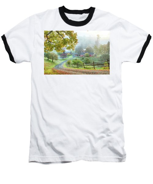 Fog On Sleepy Hollow Farm Baseball T-Shirt