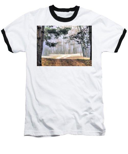 Foggy Autumn Landscape Baseball T-Shirt