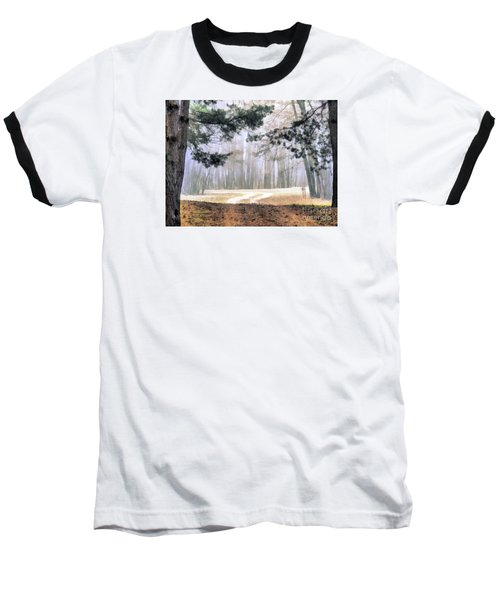 Foggy Autumn Landscape Baseball T-Shirt