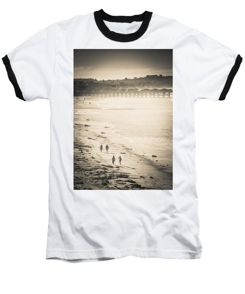 Foggy Beach Walk Baseball T-Shirt