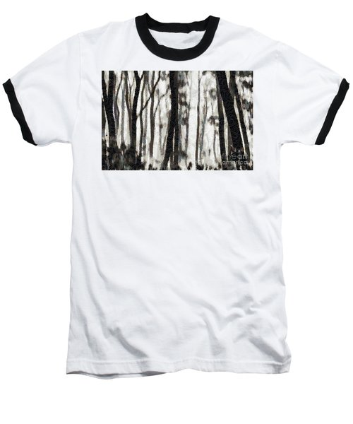 Foggy Forest Tree Paint Baseball T-Shirt