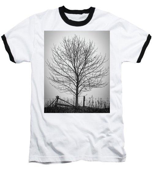Foggy Lone Tree Hill Fine Art Baseball T-Shirt
