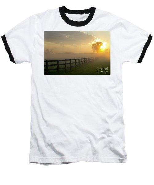 Foggy Pasture Sunrise Baseball T-Shirt