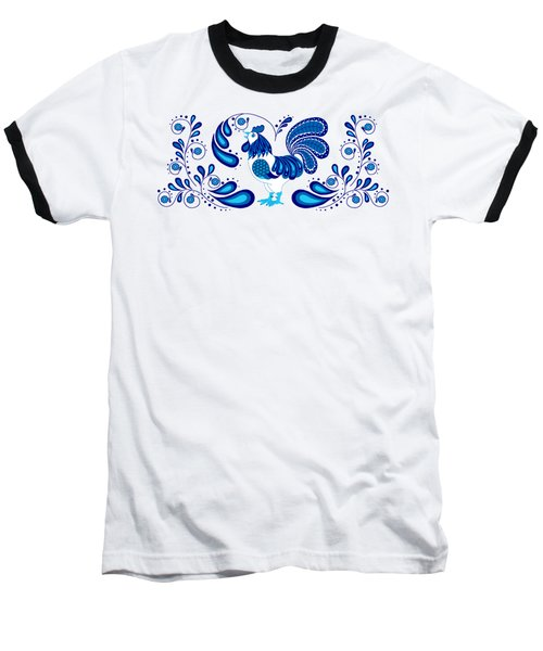 Folk Art Rooster In Blue Baseball T-Shirt