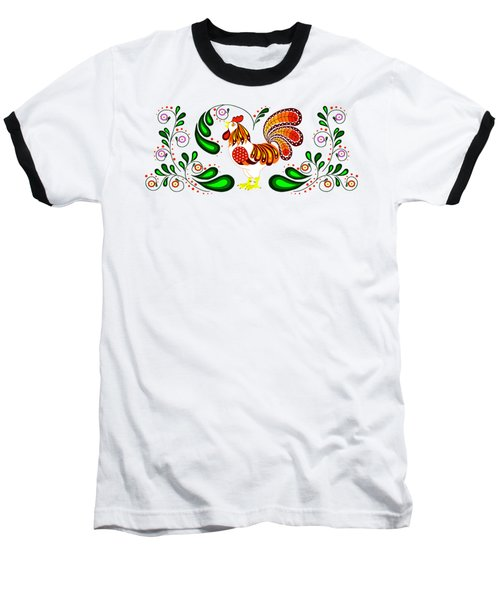 Folk Art Rooster Multi Color Baseball T-Shirt