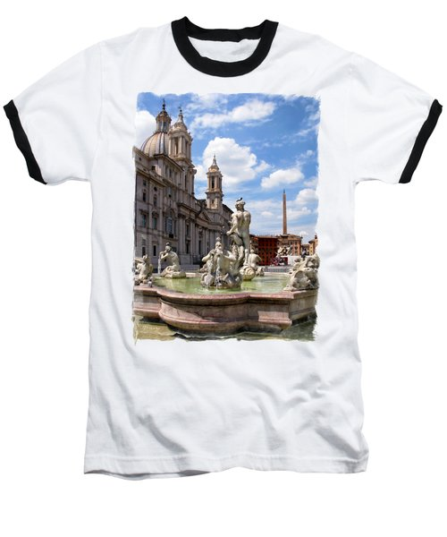 Fontana Del Moro.rome Baseball T-Shirt by Jennie Breeze