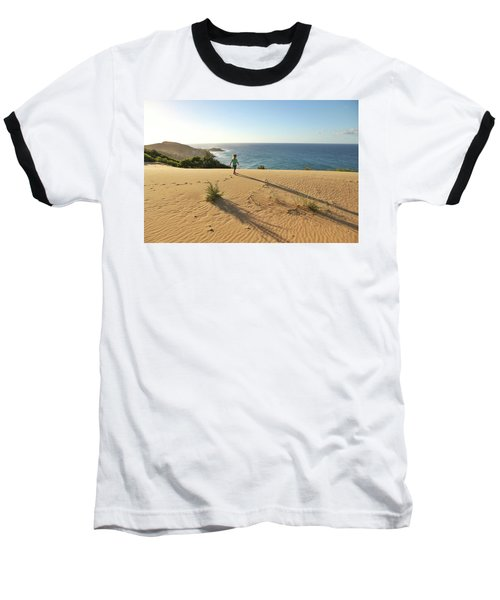 Footprints In The Sand Dunes Baseball T-Shirt