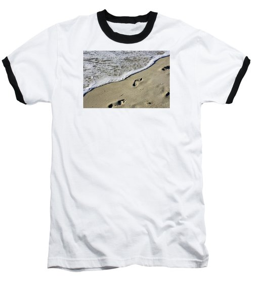 Baseball T-Shirt featuring the photograph Footprints On The Beach by Robb Stan