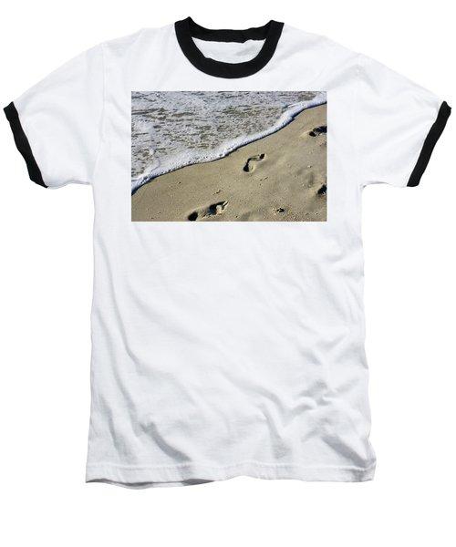 Footprints On The Beach Baseball T-Shirt
