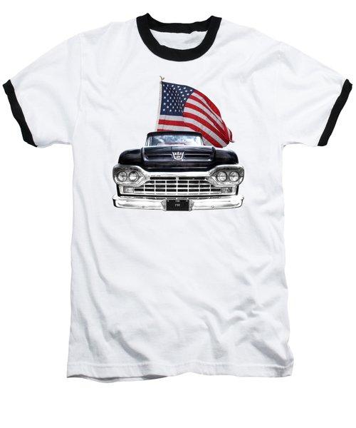 Ford F100 With U.s.flag On Black Baseball T-Shirt