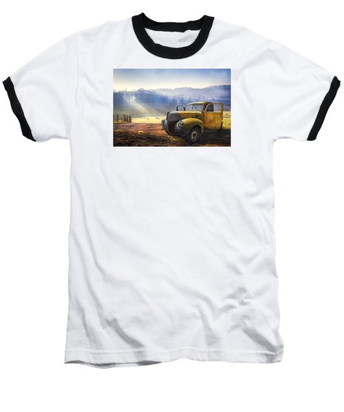 Baseball T-Shirt featuring the photograph Ford In The Fog by Debra and Dave Vanderlaan