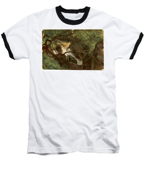 Forest Interior With A Waterfall Papigno Baseball T-Shirt