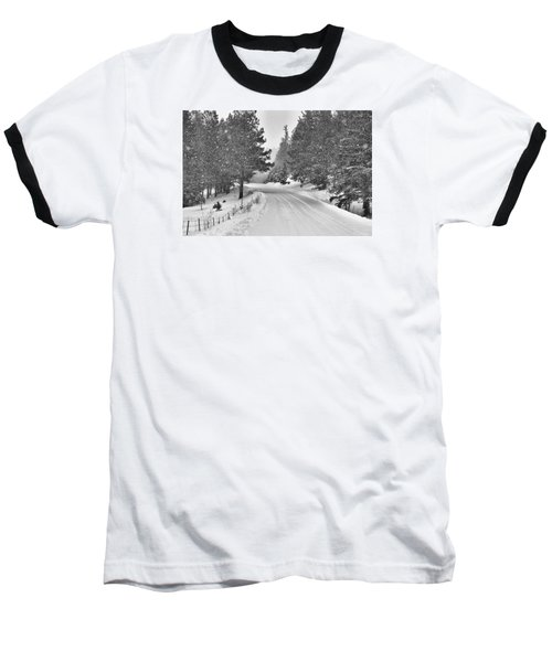 Forest Road In The Snow Baseball T-Shirt