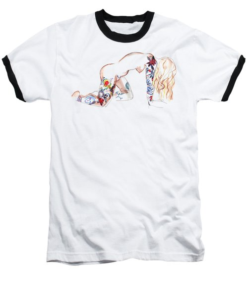 Baseball T-Shirt featuring the mixed media Forever Amber - Tattoed Nude by Carolyn Weltman