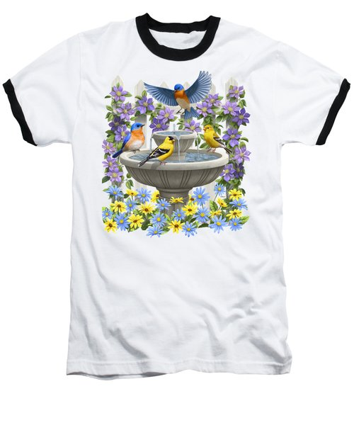 Fountain Festivities - Birds And Birdbath Painting Baseball T-Shirt by Crista Forest