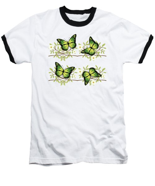 Four Green Butterflies Baseball T-Shirt