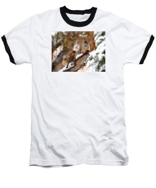 Four Sparrows Baseball T-Shirt by Deborah Moen