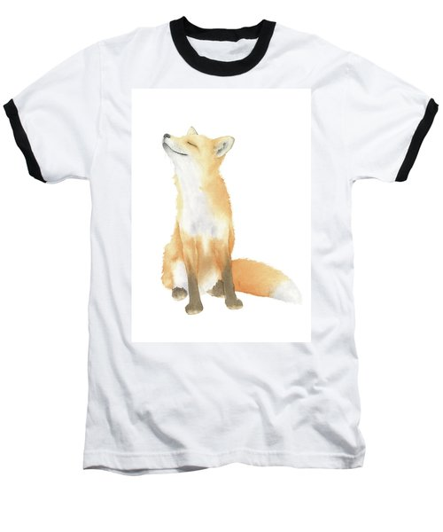 Fox Watercolor Baseball T-Shirt by Taylan Apukovska