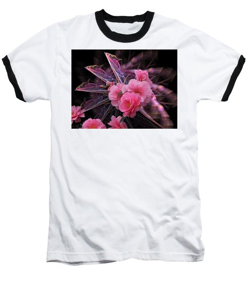 Fractal Meets Camellia  Baseball T-Shirt
