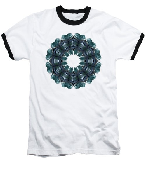 Fractal Wreath-32 Teal T-shirt Baseball T-Shirt