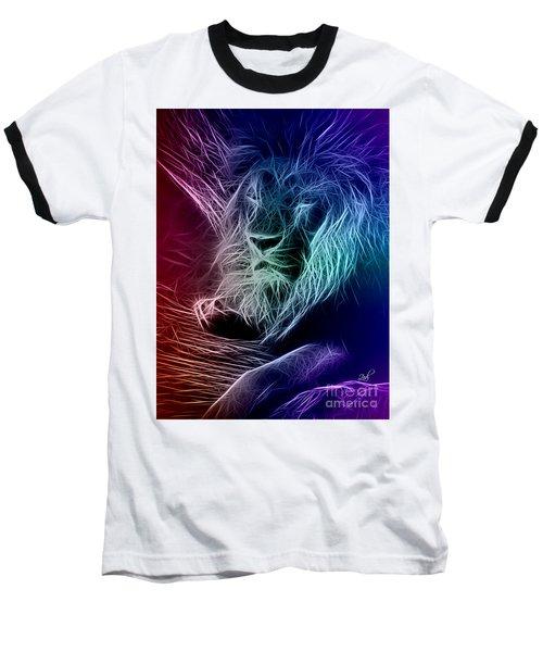 Fractalius Lion Baseball T-Shirt by Zedi