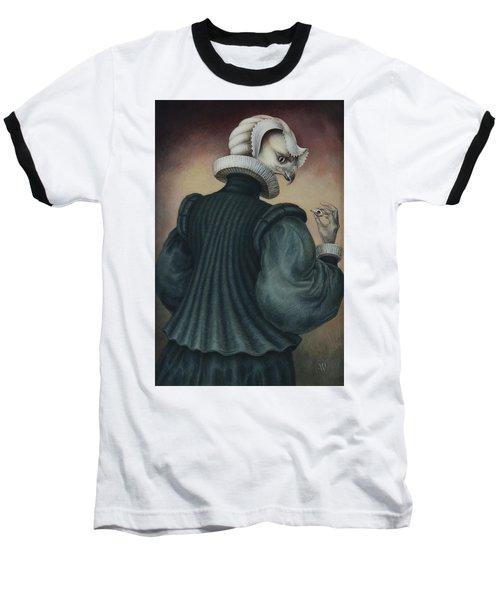 Fragile Assertion Baseball T-Shirt by Yvonne Wright