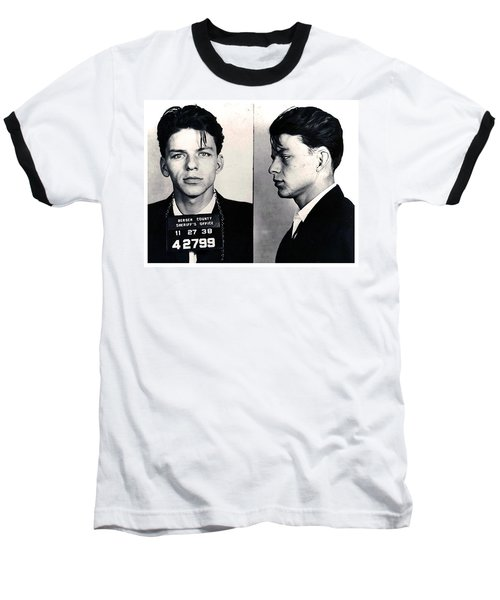 Frank Sinatra Mug Shot Horizontal Baseball T-Shirt by Tony Rubino