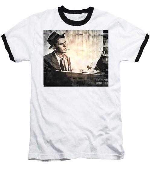 Frank Sinatra - Vintage Painting Baseball T-Shirt by Ian Gledhill