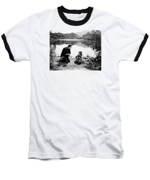 Frankenstein By The Lake With Little Girl Boris Karoff Baseball T-Shirt by R Muirhead Art