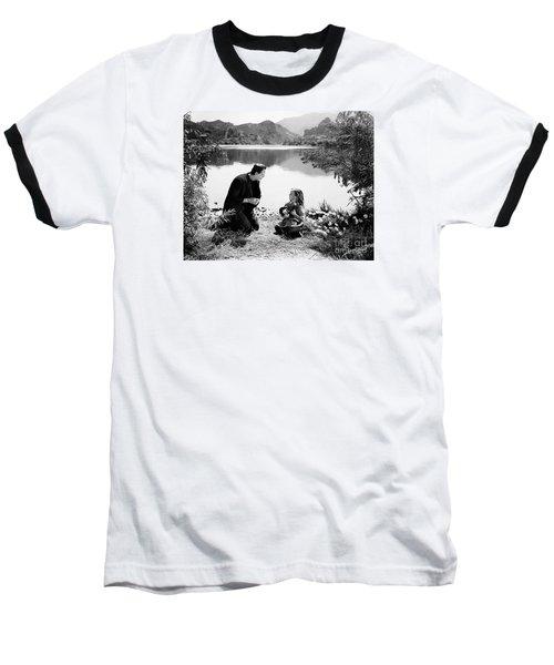 Frankenstein By The Lake With Little Girl Boris Karloff Baseball T-Shirt