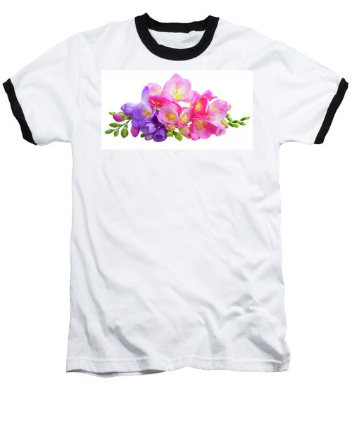 Fresh Pink And Violet Freesia Flowers Baseball T-Shirt