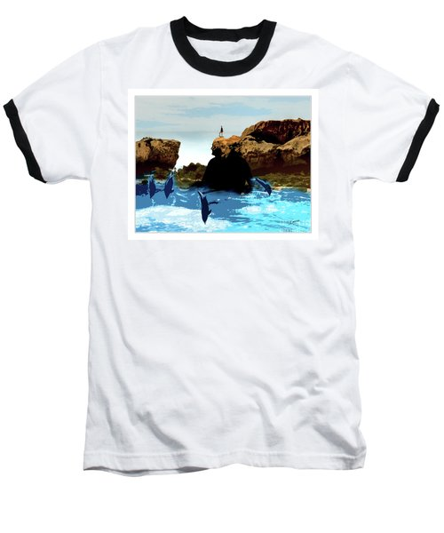 Friends With Dolphins In Colour Baseball T-Shirt