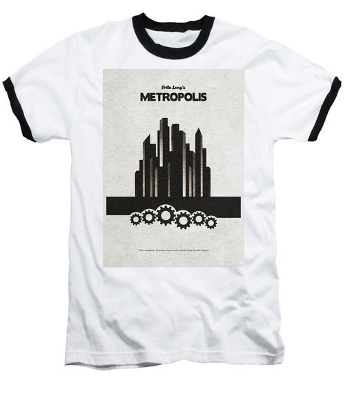 Baseball T-Shirt featuring the painting Fritz Lang's Metropolis Alternative Minimalist Movie Poster by Inspirowl Design