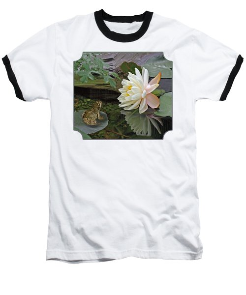 Frog In Awe Of White Water Lily Baseball T-Shirt by Gill Billington