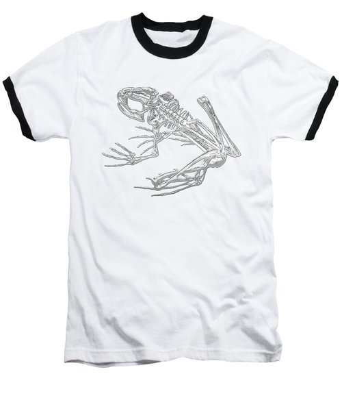 Frog Skeleton In Silver On Blue  Baseball T-Shirt