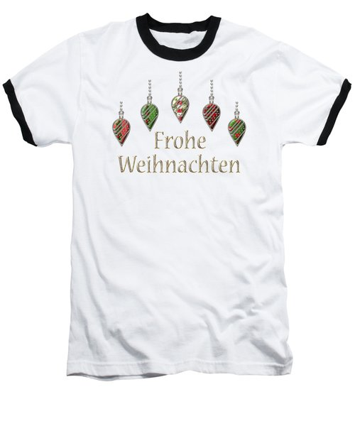 Frohe Weihnachten German Merry Christmas Baseball T-Shirt by Movie Poster Prints