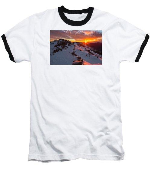 Frosty Alpine Sunset Baseball T-Shirt