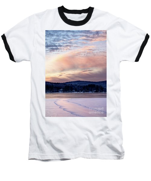 Frozen Lake Sunset In Wilton Maine  -78096-78097 Baseball T-Shirt