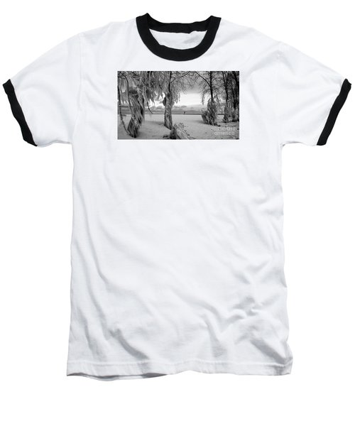 Baseball T-Shirt featuring the photograph Frozen Landscape Of The Menominee North Pier Lighthouse by Mark J Seefeldt