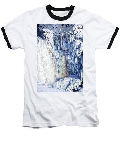 Baseball T-Shirt featuring the photograph Frozen Waterfall Gullfoss Iceland by Matthias Hauser