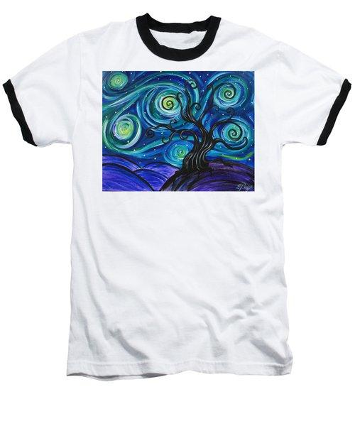 Funky Tree, Starry Night Baseball T-Shirt